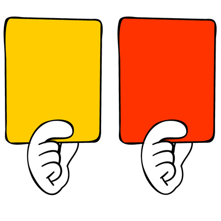 current events: Red card and yellow card Illustration