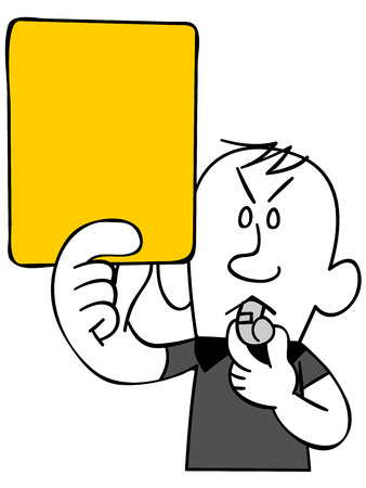 satirical: Referee to issue a yellow card (upper body) Illustration
