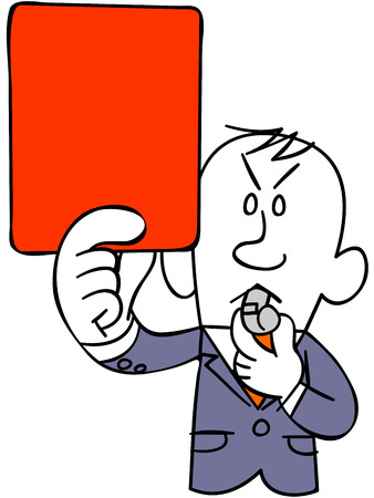 satirical: Referee of soccer to issue a red card (upper body) Illustration