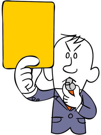 use regulations: Businessman to issue a yellow card (upper body) Illustration