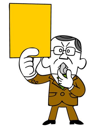 黄色のカードを発行するビジネスマン高齢者  イラスト・ベクター素材