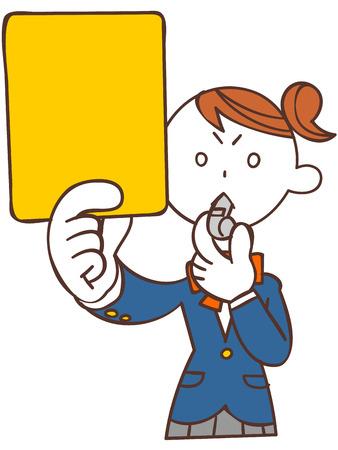 黄色のカードを発行する女子学生