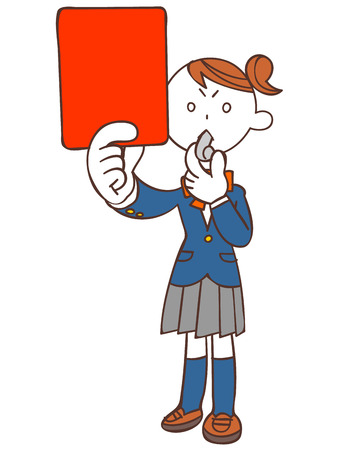 Female student showing the red card