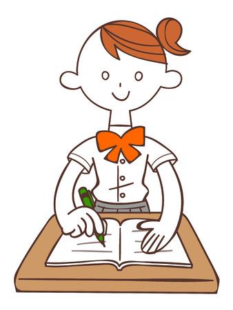 cram: Schoolgirl to study (Summer) Illustration