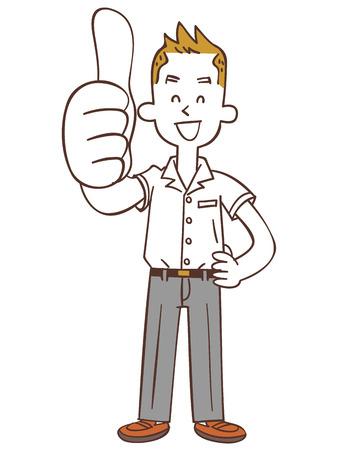 satirical: Students to thumbsup (Summer) Illustration