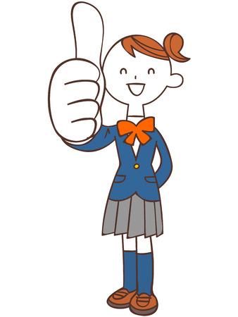 ap: Schoolgirls with thumb up