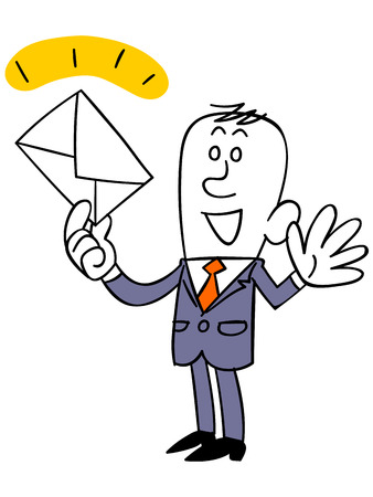salaried worker: Businessman to catch the mail Illustration