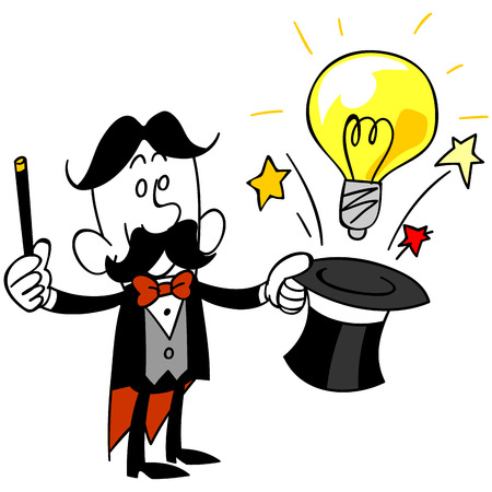 satirical: Magician to issue the bulb from silk hat Illustration