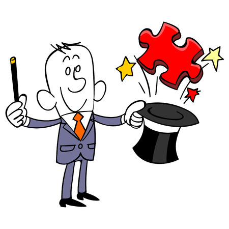satirical: Businessman to issue a puzzle piece from silk hat