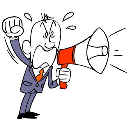 scold: Businessman screaming in loudspeaker
