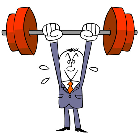 satirical: Business man lifting a barbell Illustration