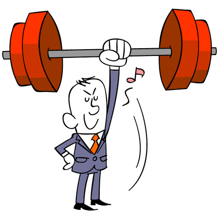 Effortlessly lift businessman a barbell