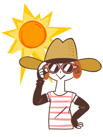 sunstroke: Woman that the sun protection Illustration