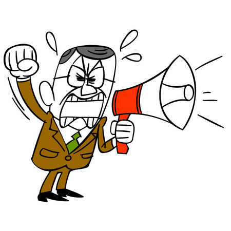 out of body: Middle-aged businessman shouting in loudspeaker