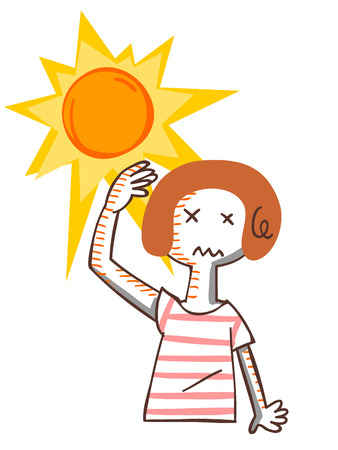 satirical: Woman to sunburn