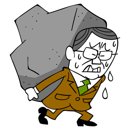 age related: Elderly businessman and burden