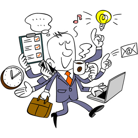 Businessmen do a multi-task Ilustrace
