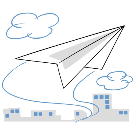 business district: Paper airplane fly the business district Illustration