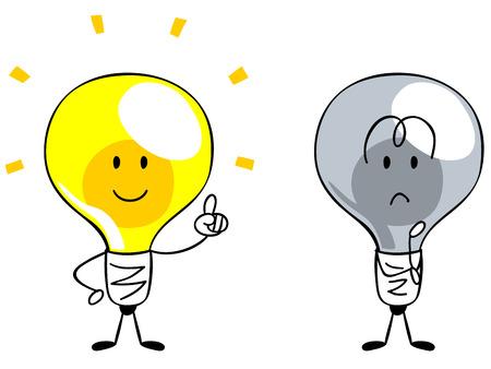 アイデア、インスピレーション、電球の文字