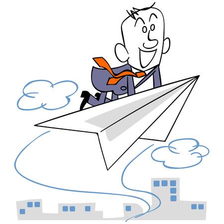 Geschäftsmann und Hintergrund an Bord der Papierflieger fliegen Vektorgrafik