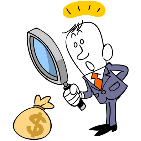 recursos financieros: El hombre de negocios que buscar dinero Vectores