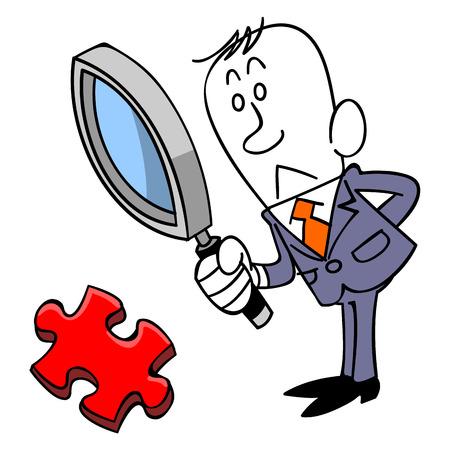 ジグソー パズルのピースを確認する実業家