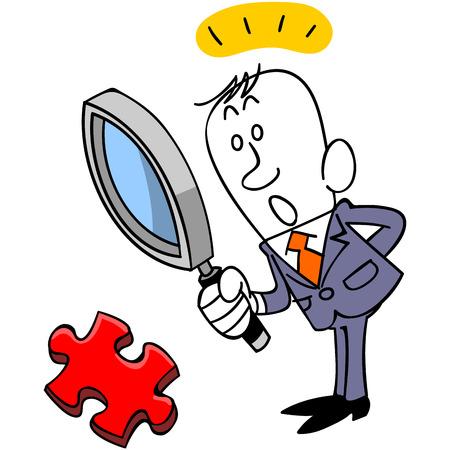 ジグソー パズルのピースを発見する実業家