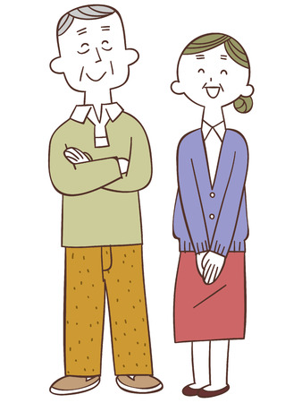 Elderly couple of smile Иллюстрация