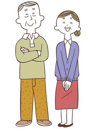 older woman smiling: Elderly couple of smile Illustration