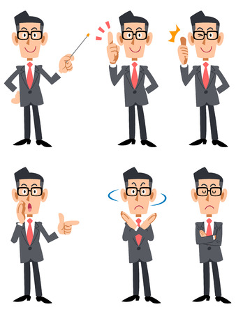 salaried worker: Man's suits you glasses (frontal)