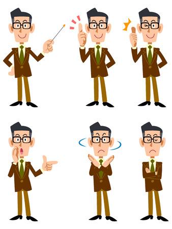 Men of glasses wearing a jacket of brown (frontal) Illusztráció