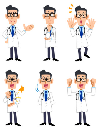 satirical: Doctor six pose and gesture Illustration