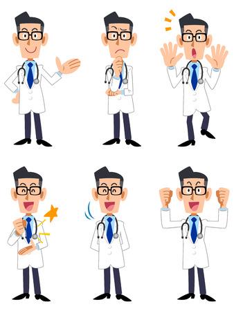Médico seis pose y los gestos