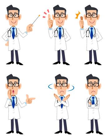 medico caricatura: Médico seis pose y los gestos