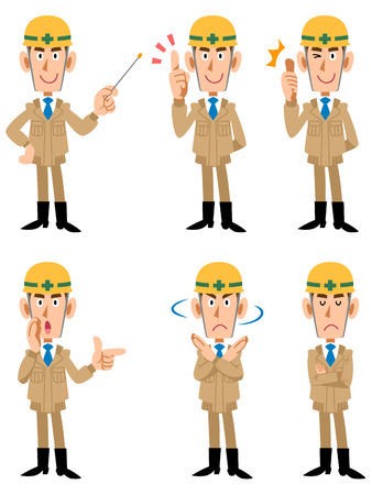 Construction site workers six types of poses and facial expressions  イラスト・ベクター素材