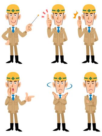 건설 현장 근로자 포즈와 표정의 6 가지 유형 일러스트