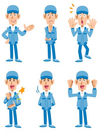 ポーズと表情の労働者急使 6 種類