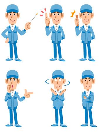 노동자 택배 6 종류의 포즈와 표정 일러스트
