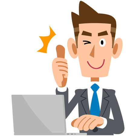 salaried: Young businessman to thumbs up in front of the PC