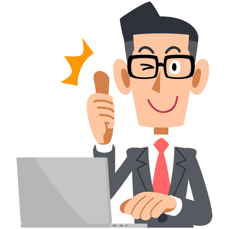 illustrate i: Glasses of businessman that thumbs up in front of the PC