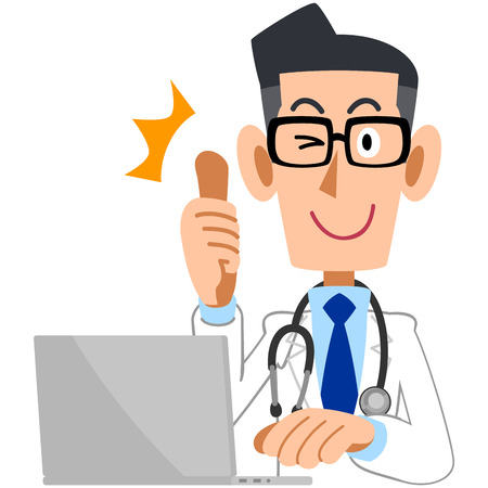 Doctor to thumbs up in front of the PC 版權商用圖片 - 35042733