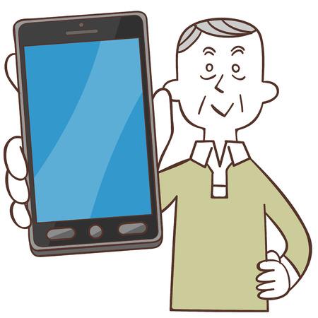 show bill: Smartphone y anciano Vectores