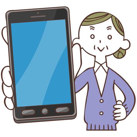 show bill: Smartphone y una mujer de edad avanzada