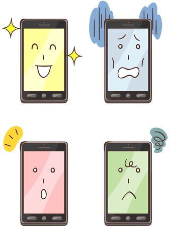 portable failure: Smartphone character four types of facial expressions