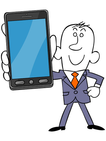 satirical: Smartphone and businessman