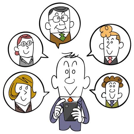 사업가 및 스마트 폰과 SNS