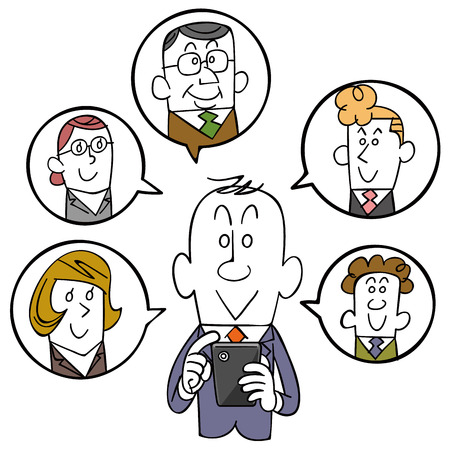 man business oriented: Businessman and smartphone and SNS