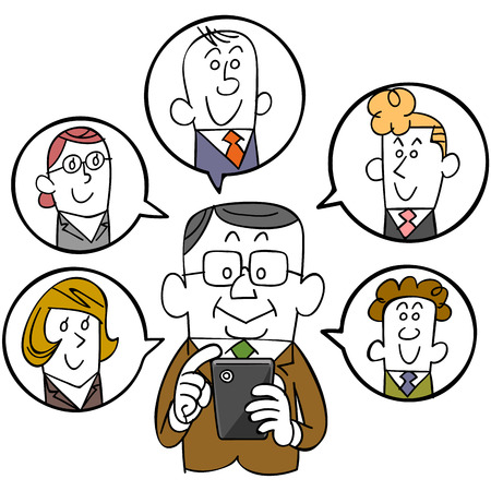 office use: Businessman and smartphones and social networks Illustration