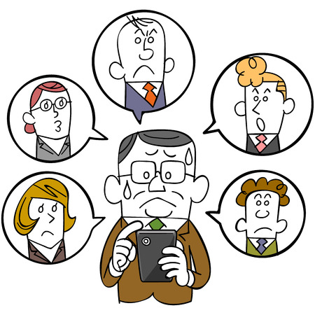 satirical: Businessman and smartphones and social networks Illustration
