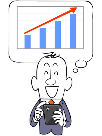 satirical: Graph to rise with the businessman and smartphone Illustration
